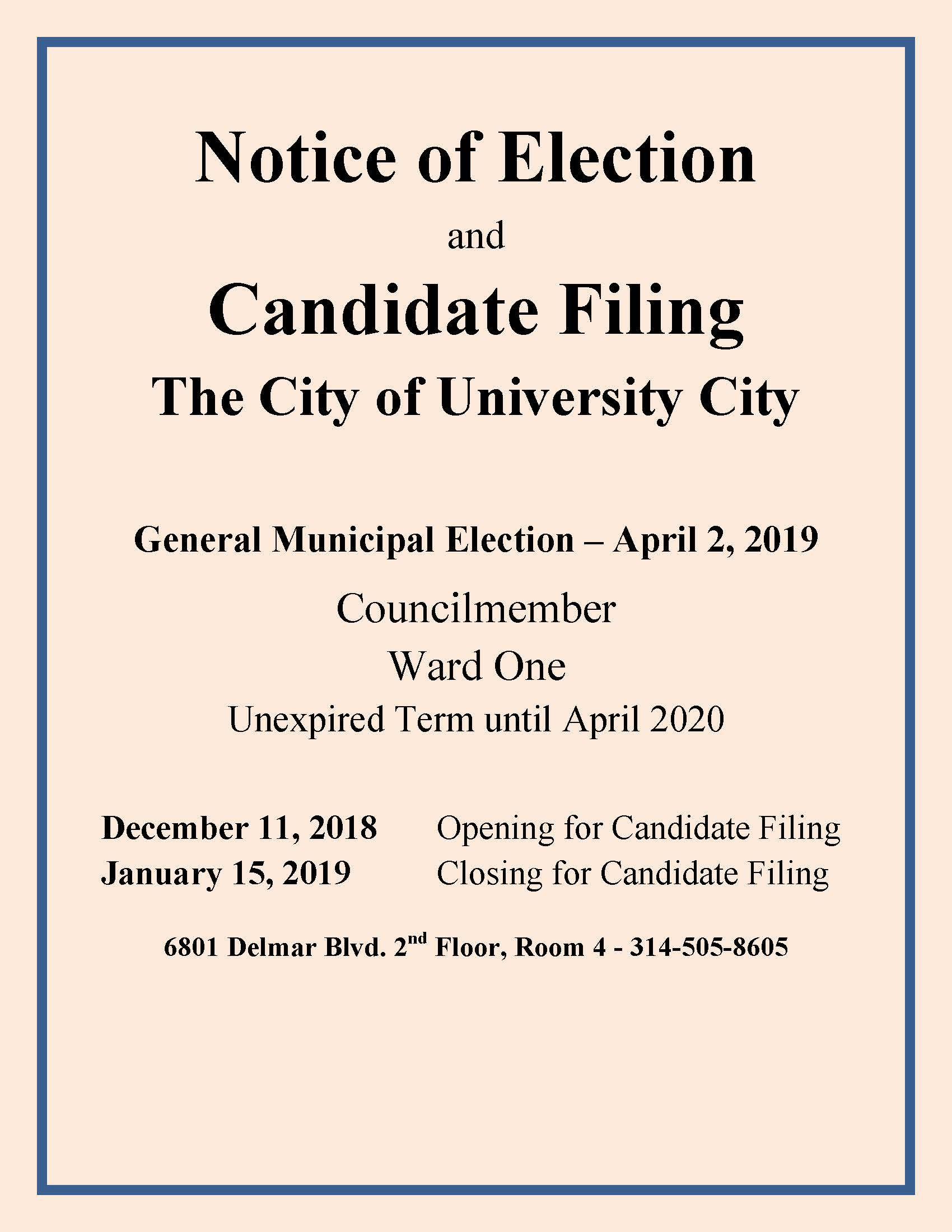 Notice of Election and Candidate Filing