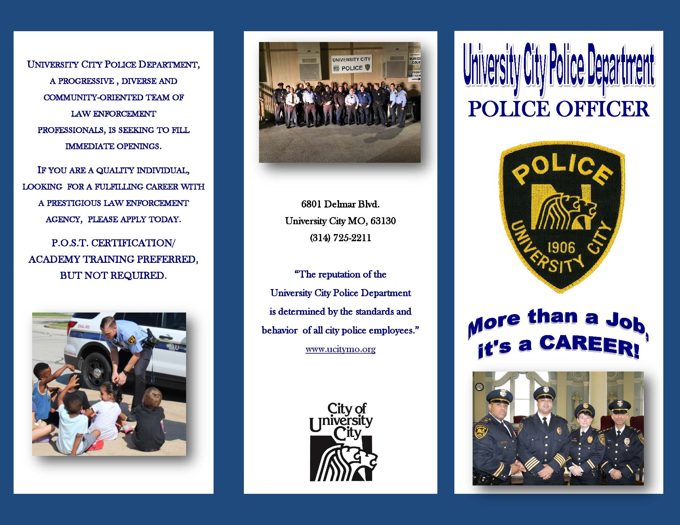 2019 UCPD Recruitment  Flyer - Front