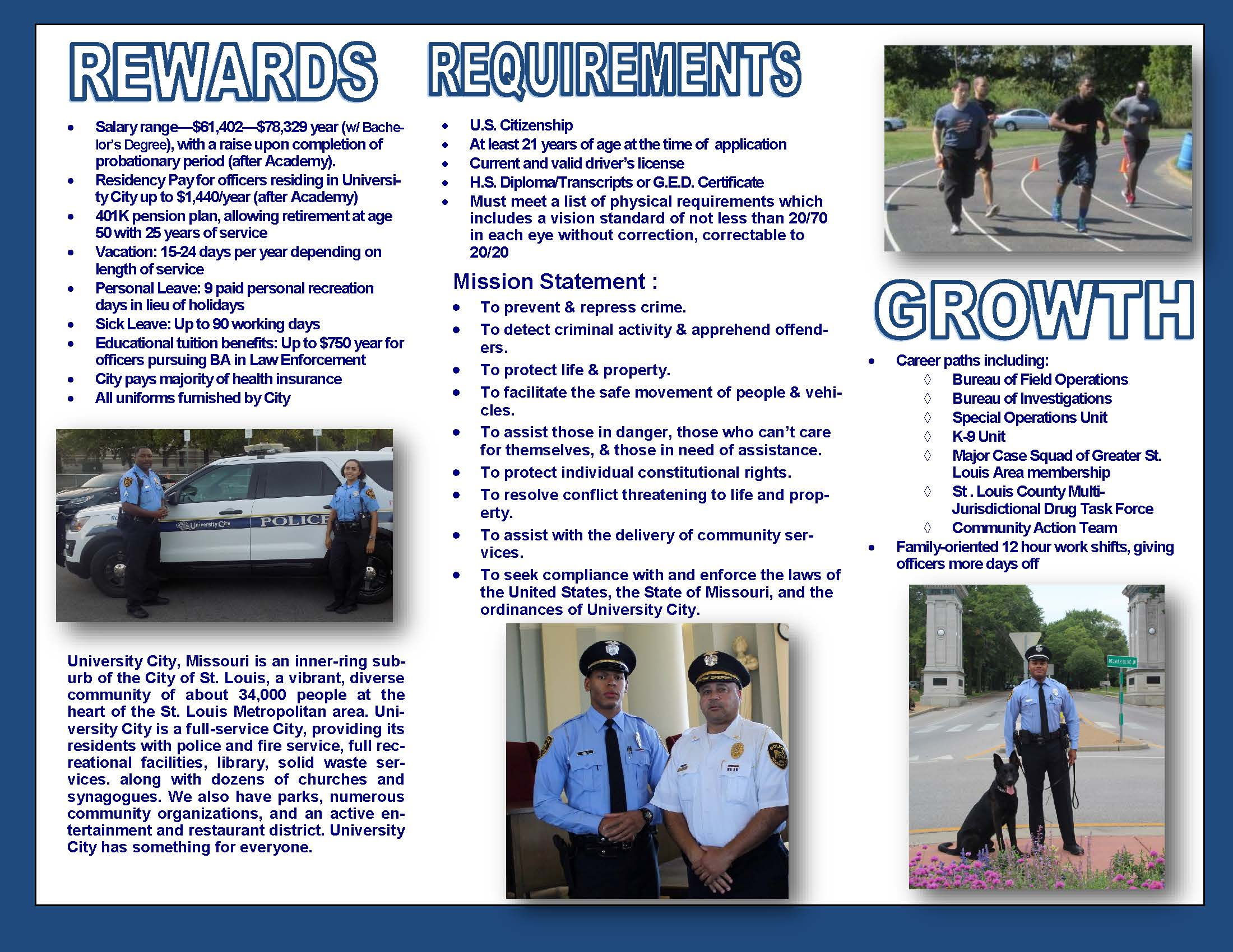 2019 UCPD Recruitment  Flyer - Back